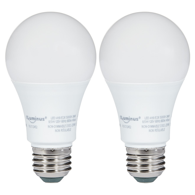 LED Bulb 9.5W A19 - non-dimmable - Day Light - 2-Pack