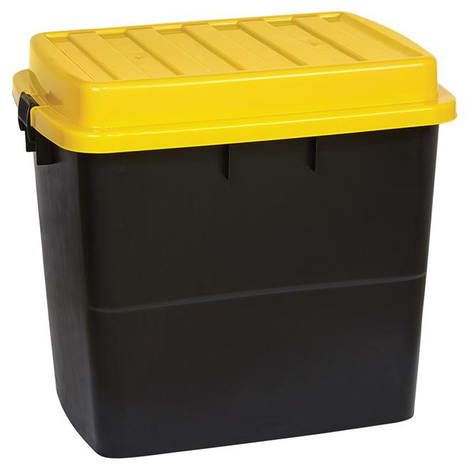 bo te de rangement robuste sur roues 210 l noir jaune rona. Black Bedroom Furniture Sets. Home Design Ideas