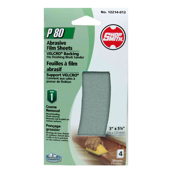 Sanding Sheets - Coarse Removal - 80 Grit - 4-Pack