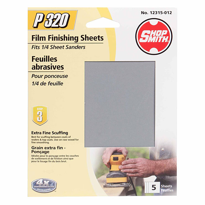 "1/4"" Sander Sheets - 320 Grit - 5-Pack"