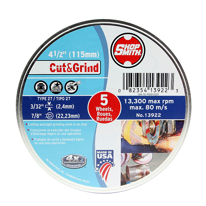 "Metal Cutting Wheel - Cut&Grind - 4 1/2"" - 5-Pack"