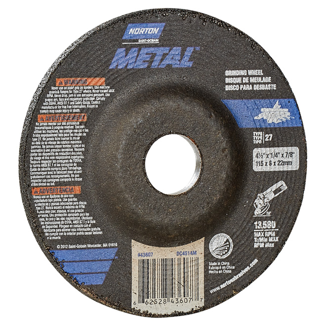 Metal Depressed Centre Grinding Wheel - 4 1/2""