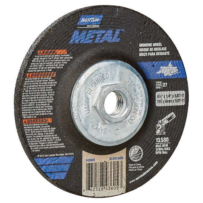 Metal Depressed Centre Grinding Wheel - 4.5""