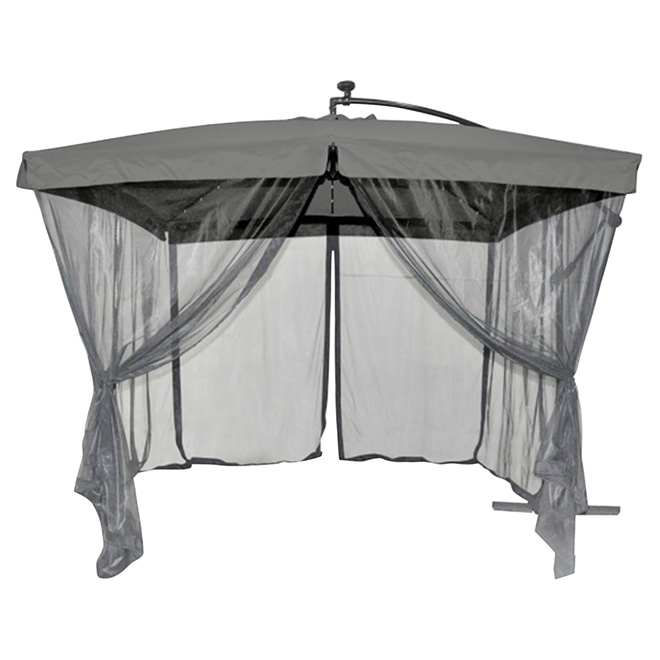 Solar light cantilever umbrella with netting 10 39 grey for Housse lit pliant