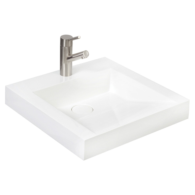 Sink front sloped vessel lavatory white cultured for Lavabo salle de bain rona