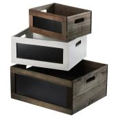 Set of 3 Wooden Crates - Grey/Brown/White