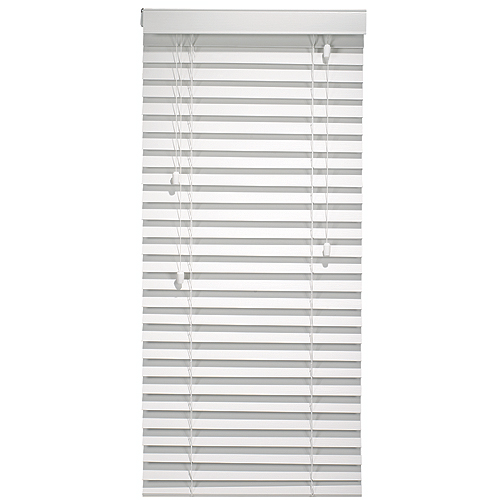 Beveled Faux Wood Horizontal Blind 42 x 64 in - White