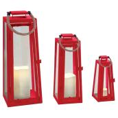 Flameless Candle Lantern Set - Red - 3 Pieces
