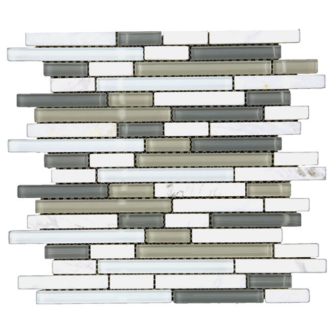 "Glass and Stone Mosaic Tile ""Carrara"""