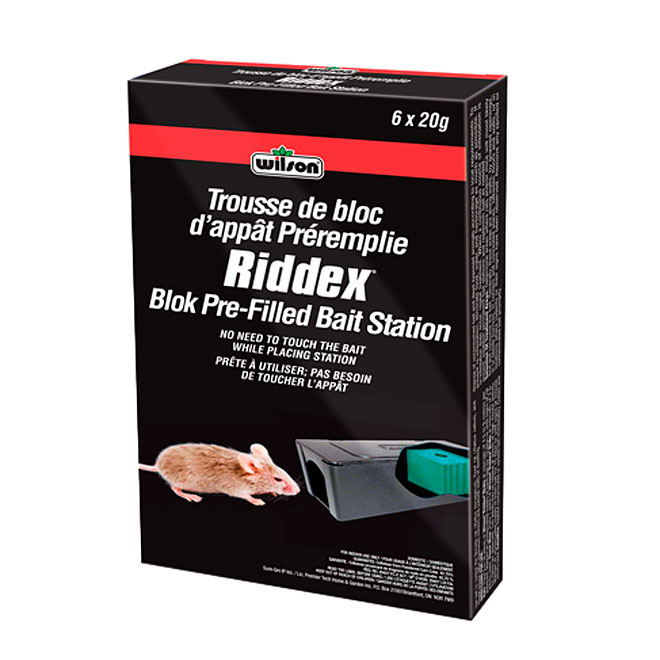 """Riddex"" Indoor Block Prefilled Bait Station for Mice"