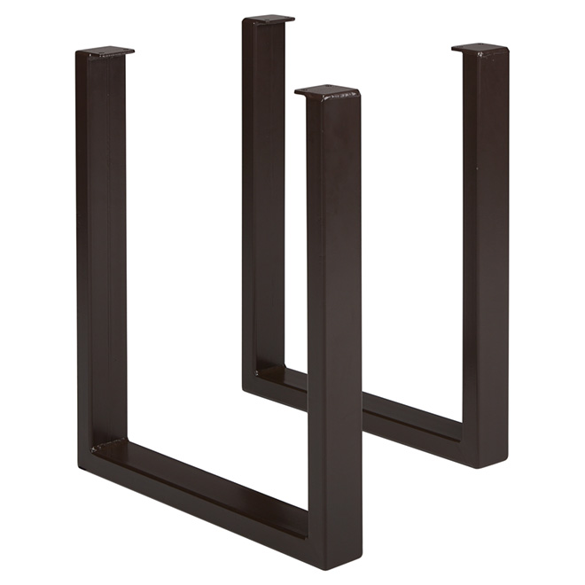 set of 2 steel table legs dark brown rona. Black Bedroom Furniture Sets. Home Design Ideas