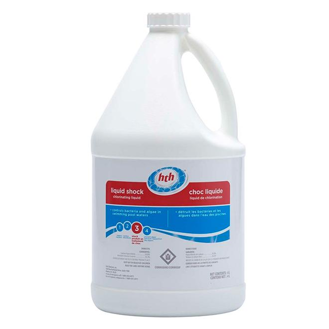 Traitement choc liquide pour piscine 4 l rona for Piscine verte traitement choc