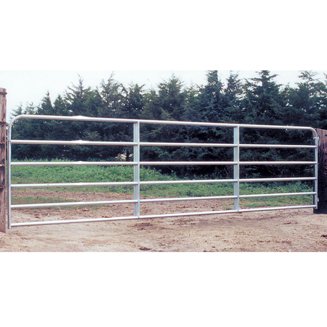 "Fence Gate - 6 Bars - Galvanized Steel Tube - 50"" x 8'"