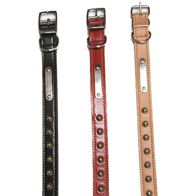 Double Studded Leather Collar Dog - Black - 20''