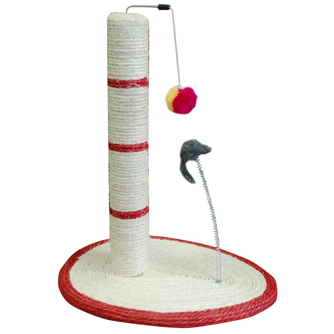 Cat Scratching Post with Attached Toys - 20''