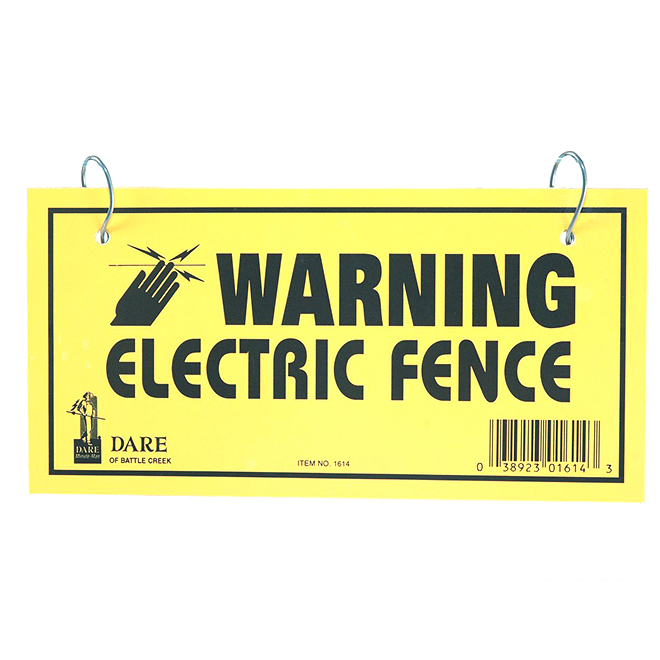 "Electric Fence Warning Sign - Dual Sided - 4"" x 8"" - 3 Pack"