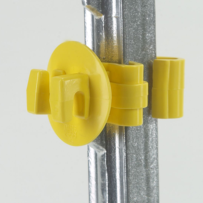 Snug Electric Fence Insulators - T-Post - Yellow - 25 Pack