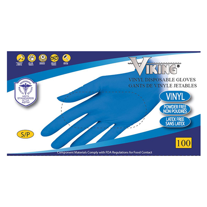 Disposable Gloves- Vinyl - Small - Blue