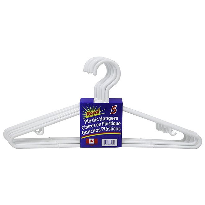 Plastic Hangers - Pack of 5 - White