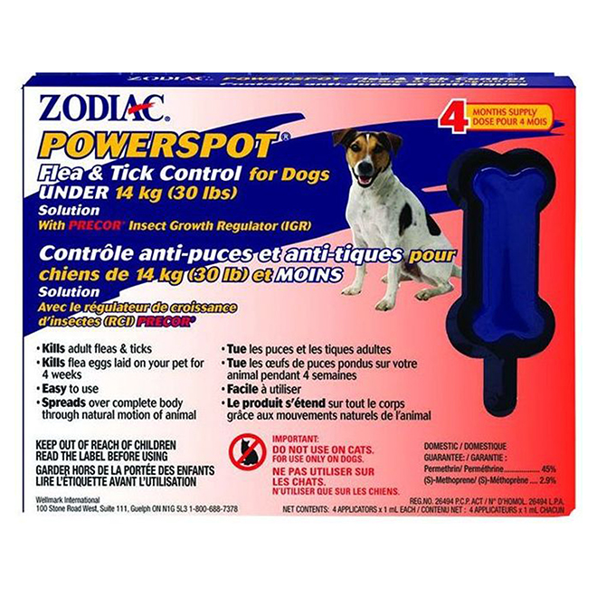 Flea and Tick PowerSpot Control for Dogs Under 30lbs