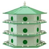 Purple Martin Birdhouse - 18 Rooms -Aluminum - White/Green