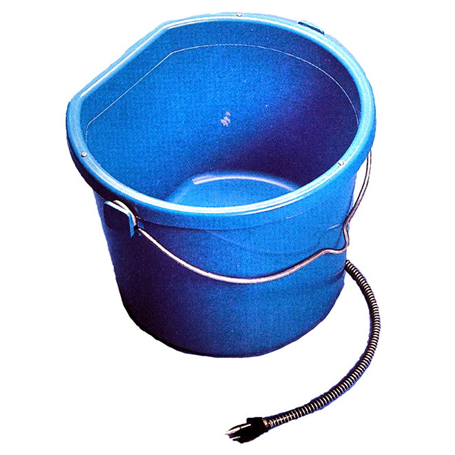 Plastic Heated Bucket - Flat Back - 5 Gallons - 130 W