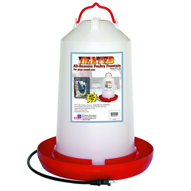 Heated Poultry Fountain - 3 Gallon Capacity - 100 W