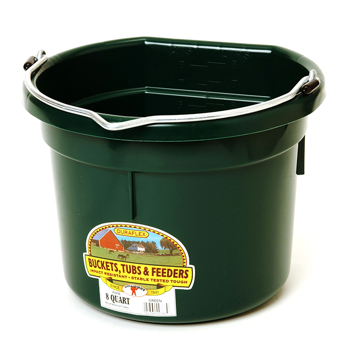 Flat-Back Bucket - Plastic - 2 Gallons - Green