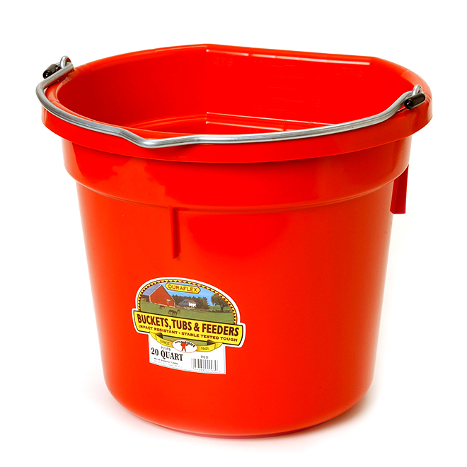 Flat-Back Bucket - Plastic - 5 Gallons - Red