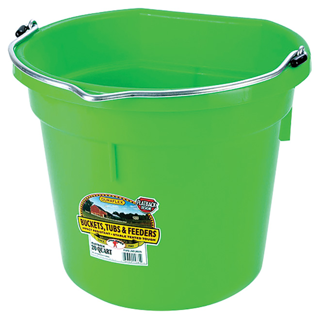 Flat-Back Bucket - Plastic - 5 Gallons - Lime Green