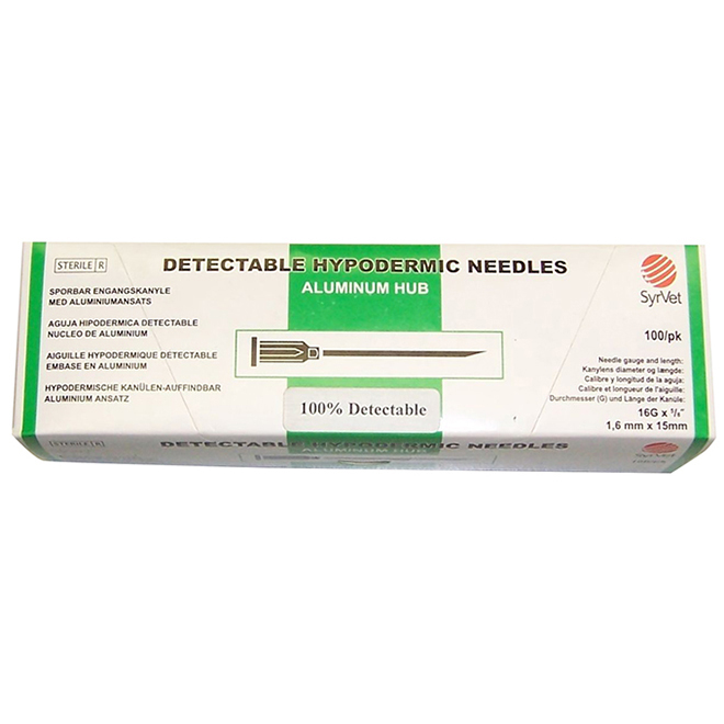 Detectable Hypodermic Needles - Aluminum Hub - 18 GA - 3/4""