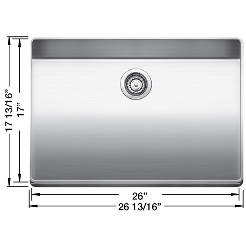 Single Sink Attika - Stainless Steel - 26.75 x 17.75""