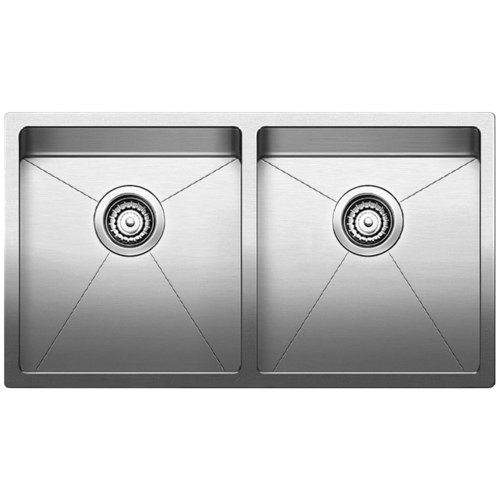 Double Sink Quatrus R15 - Stainless Steel - 32 x 18""
