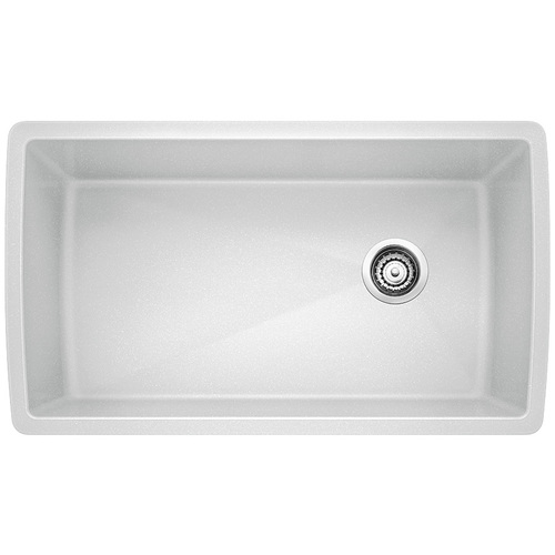 Single Sink Diamond - Silgranit® - White - 33.5 x 18.5""