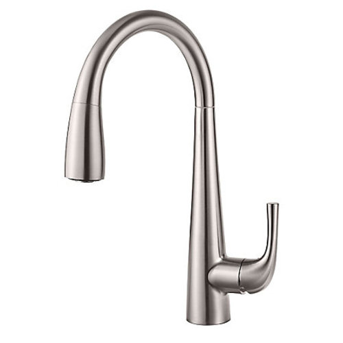 "Kitchen Pull-Down Faucet - ""Alea"" - Stainless Steel"