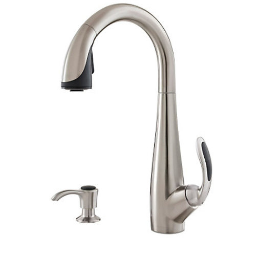 "Kitchen Pull-Down Faucet - ""Nia"" - Stainless Steel and Black"
