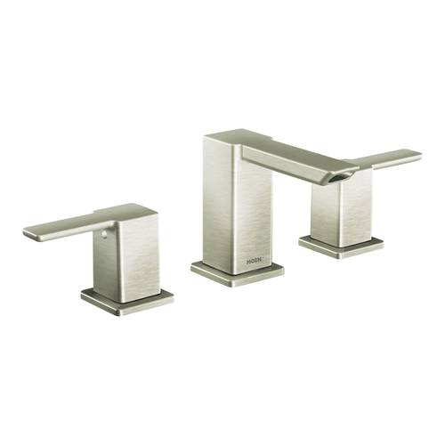 "Two-Handle Bathroom Faucet - ""90 Degree"" - Brushed Nickel - Rough plumbing not included"