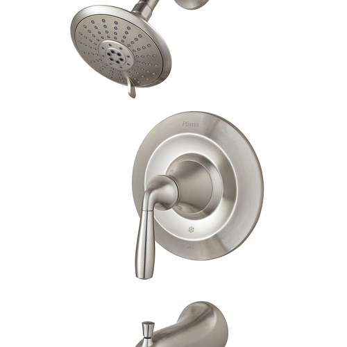 "Tub and Shower Faucet - ""Iyla"" - Brushed Nickel - Rough plumbing not included"