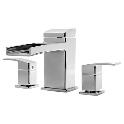 "Roman Tub Faucet - ""Kenzo"" - 3-Hole - Chrome - Rough plumbing not included"