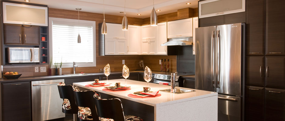 Contemprary Design Kitchen with brown and white cabinets