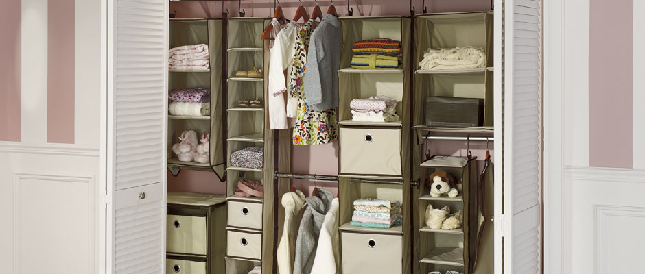 Modular fabric storage for an organized bedroom closet