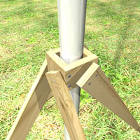 Build a wood frame around the pole and nail the wood support