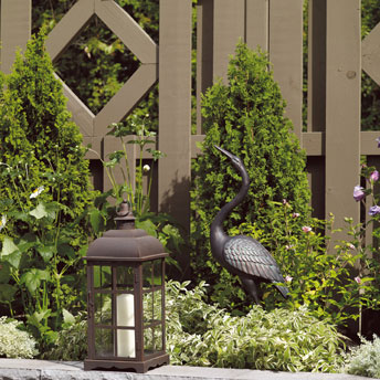 Earth tones help structures blend into the landscape design.