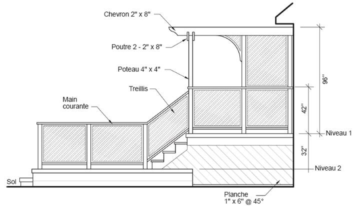 Construire une terrasse deux niveaux plans de for Plan pour patio exterieur gratuit