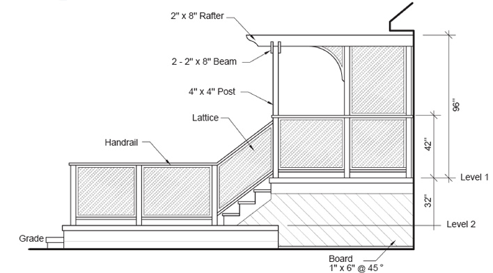 Build a two level deck construction plans rona for High elevation deck plans