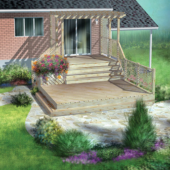 Build a two level deck construction plans rona for Plan pour patio exterieur