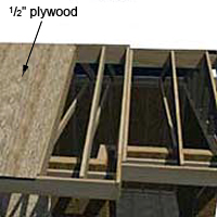 Sheath the shed roof with plywood.