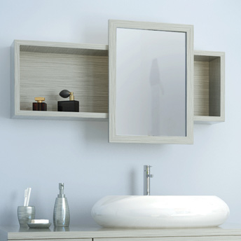 The mirror door slides back and forth on this modern medicine cabinet.
