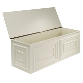 Storage chest-bench with an open cover