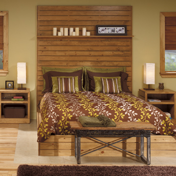 Bedroom set with pine headboard and night tables